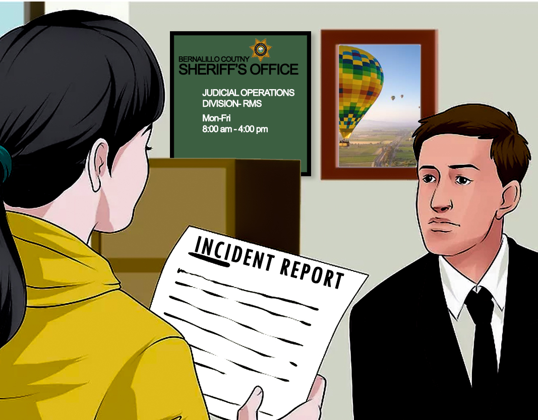 Illustration of a woman presenting an incident report