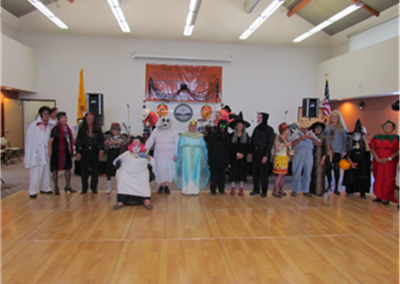 People dressed in costumes