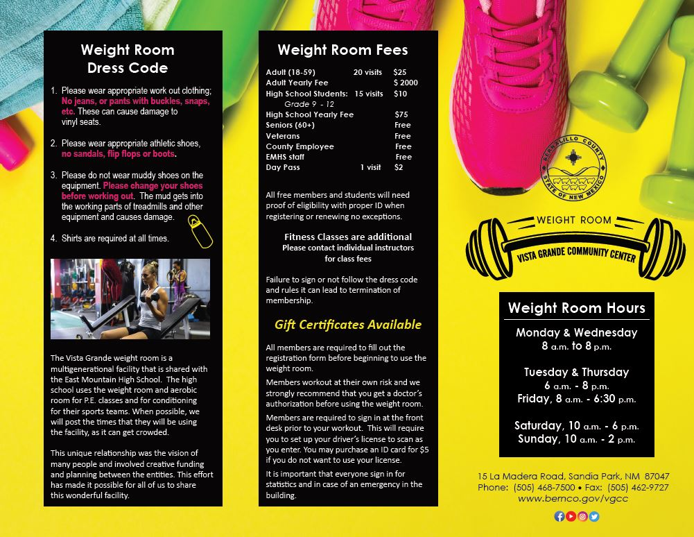 VGCC Weight Room Brochure page 1