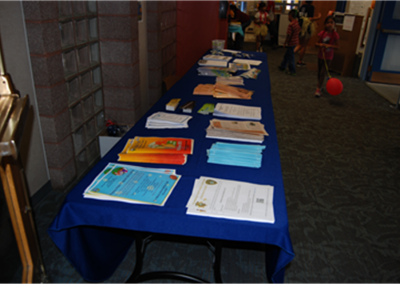 table with brochures