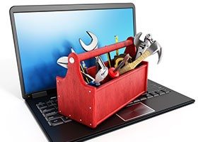 Laptop and toolbox