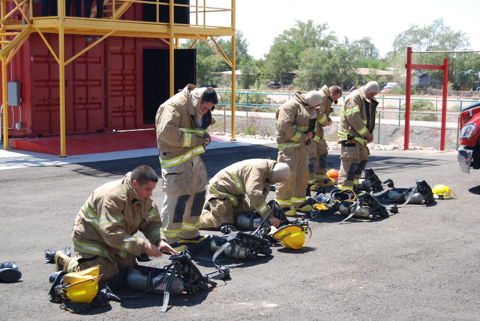 A picture of firefighters in their gear