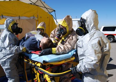 A picture of BCFD & AFD in hazmat suits