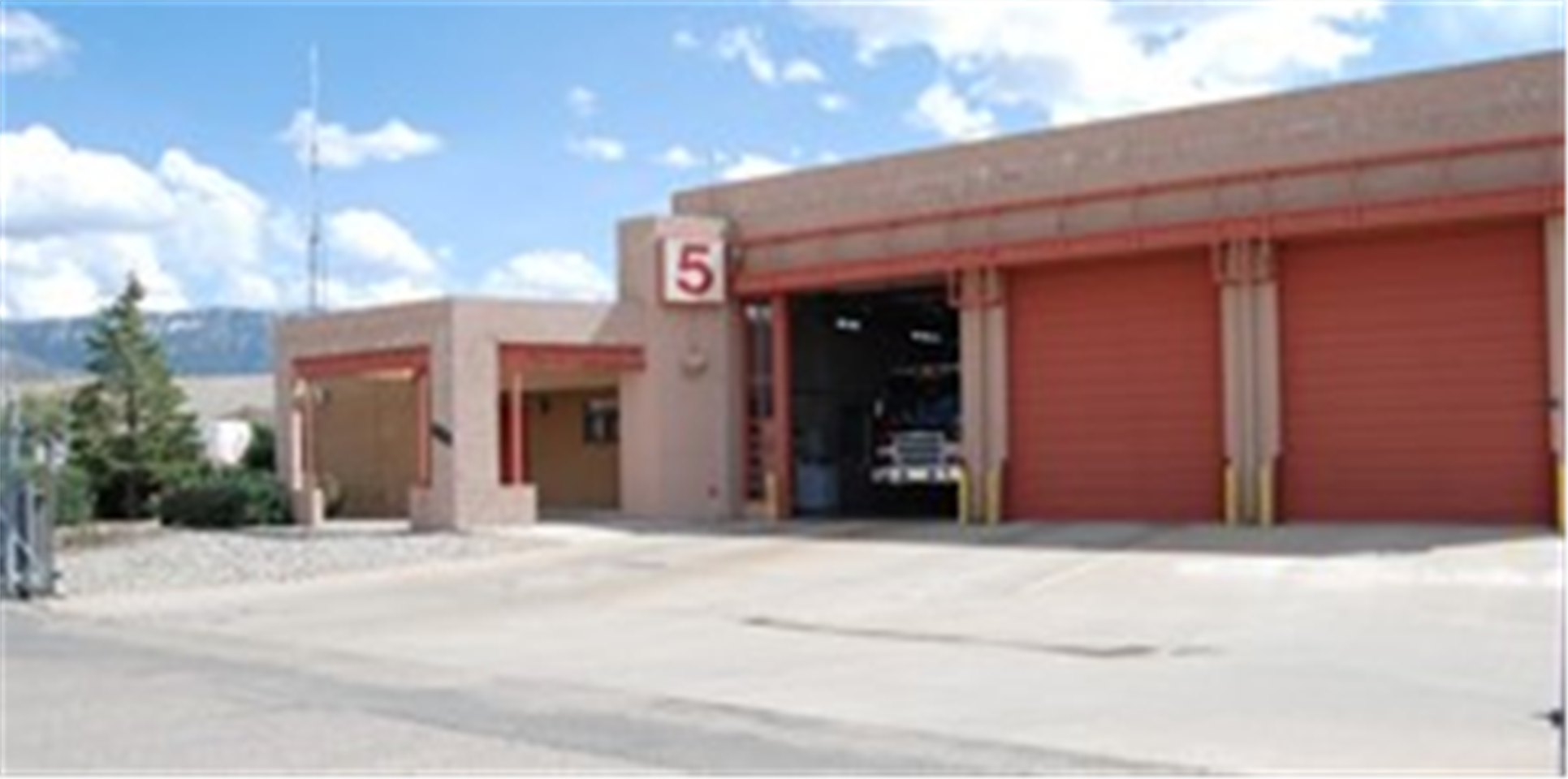 A picture of the front of a fire station