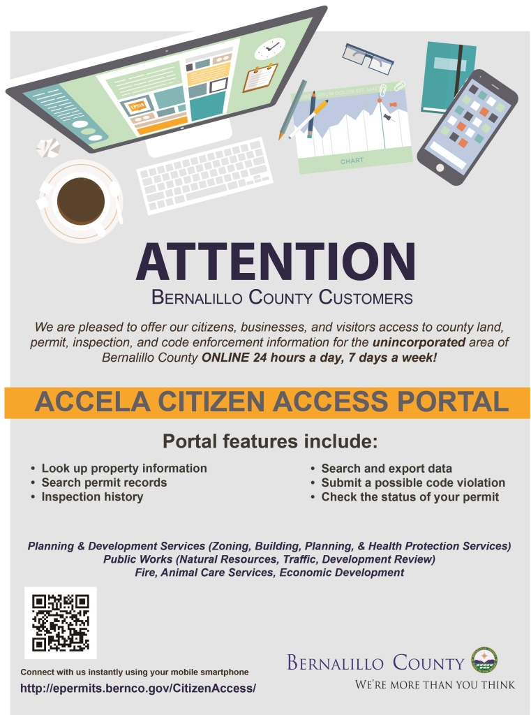 Poster with information about the Accela Access Portal