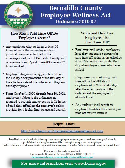 Poster with details about the Employee Wellness Act
