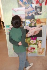 Young child standing and looking at a display