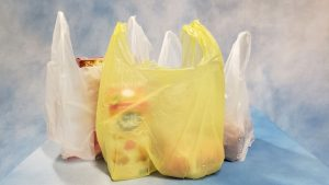 Plastic grocery bags standing upright