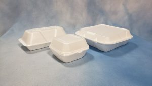 Three styrofoam food containers