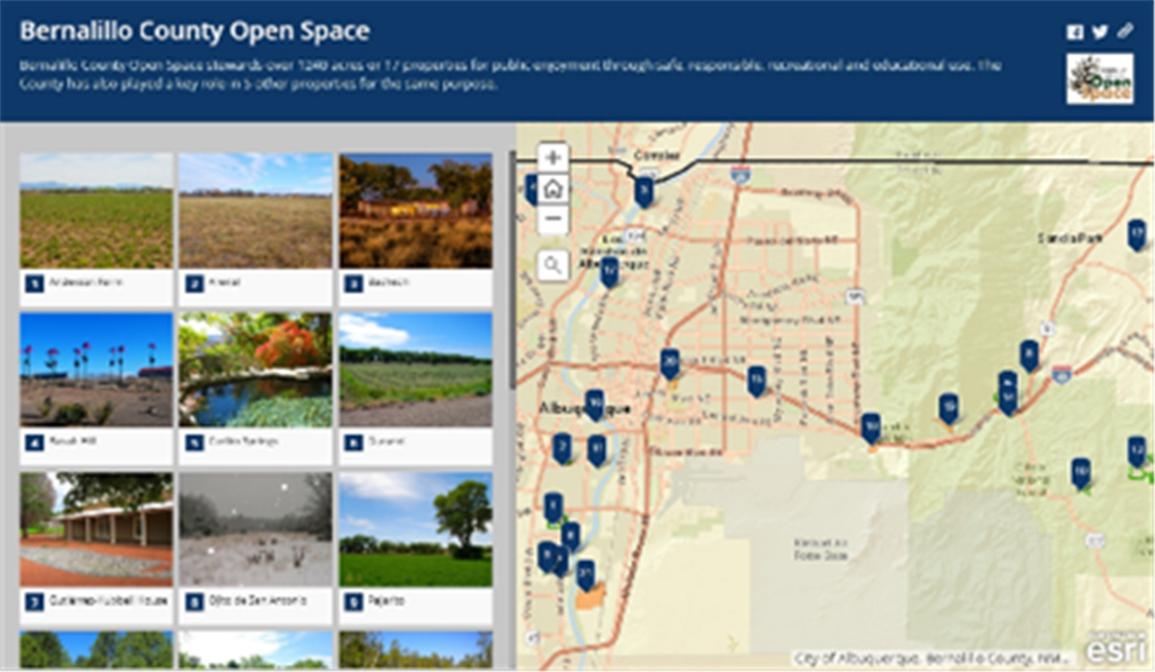 Map and images of open spaces