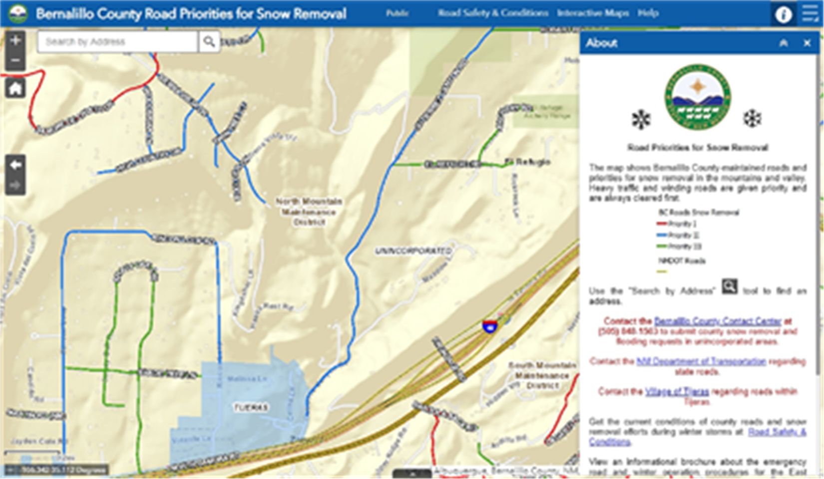 Map illustrating snow removal